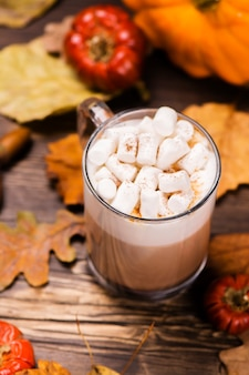 Pumpkin latte with marshmallows.