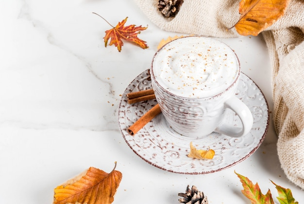 Pumpkin latte with whipped cream, cinnamon and anise