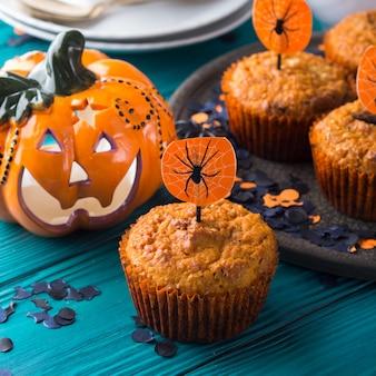 Pumpkin muffins for halloween kids party