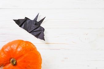 Pumpkin near bat origami