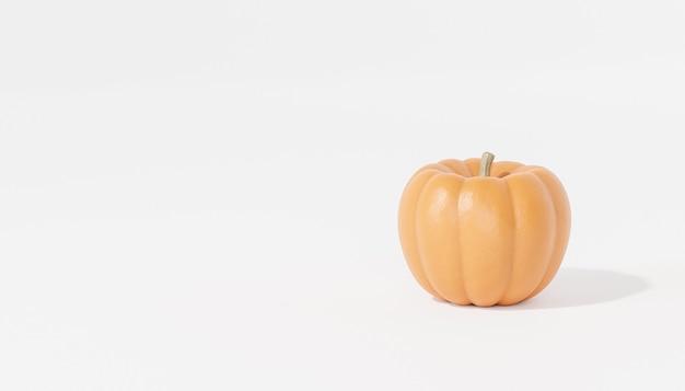 Тыква на белом фоне для рекламы на осенних праздниках или распродажах, 3d визуализация баннеров