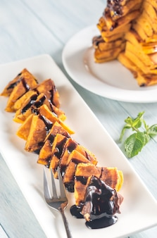 Pumpkin pancakes with chocolate topping