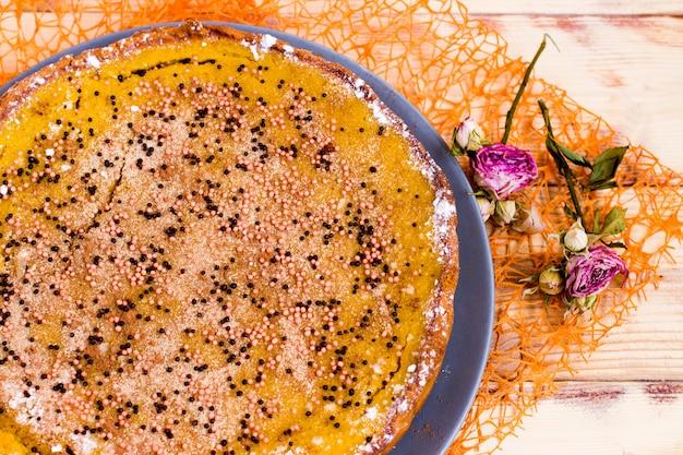 Pumpkin pie flat lay, traditional thanksgiving dessert,