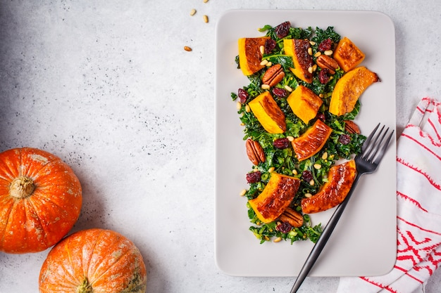 Pumpkin salad with nuts, cranberries and kale in a rectangular plate, top view.