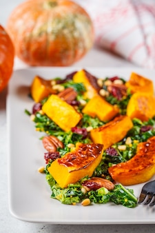 Pumpkin salad with nuts, cranberries and kale in a rectangular plate.
