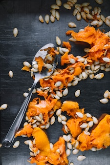 Pumpkin seeds with spoon