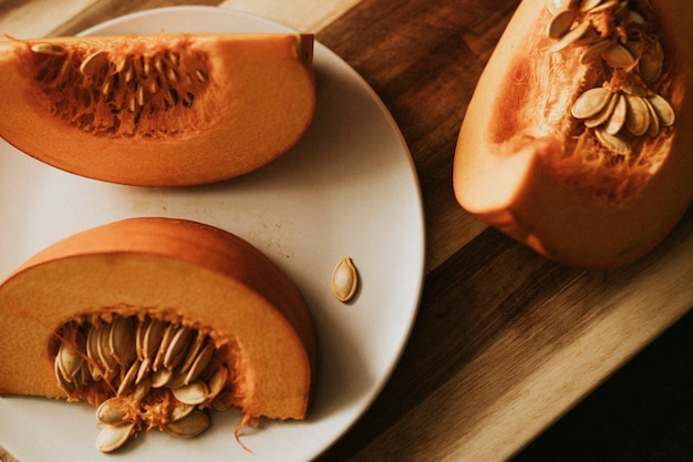 Pumpkin slices for thanksgiving dinner food photography