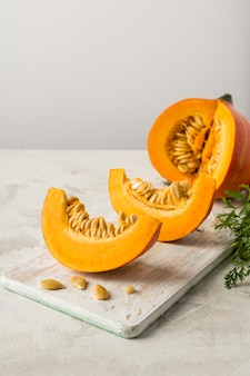 Pumpkin slices with seeds arrangement