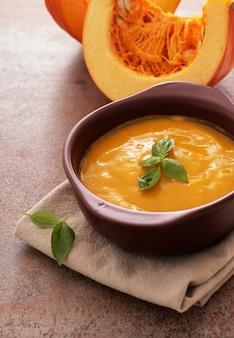 Pumpkin soup in bowl