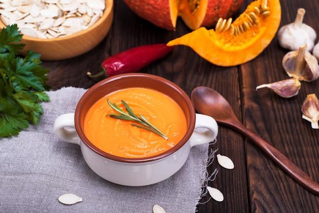 Pumpkin soup in a ceramic plate