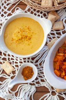 Pumpkin soup cream and roasted pumpkin