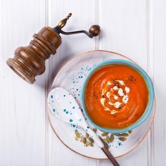 Pumpkin  soup puree with cream and pumpkin seeds