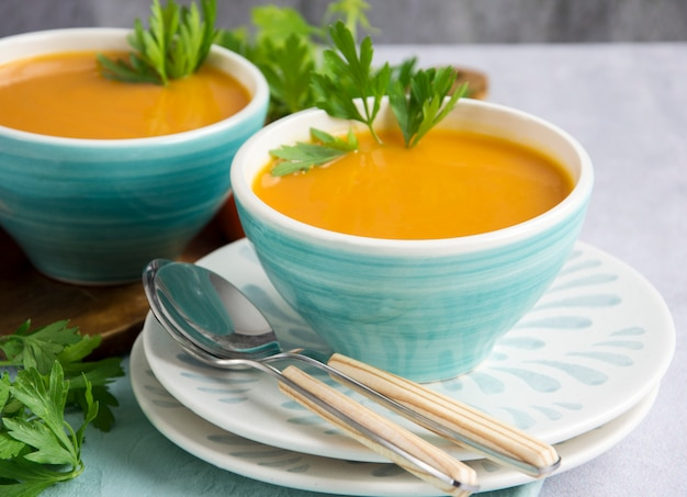 Pumpkin soup served in a bowl