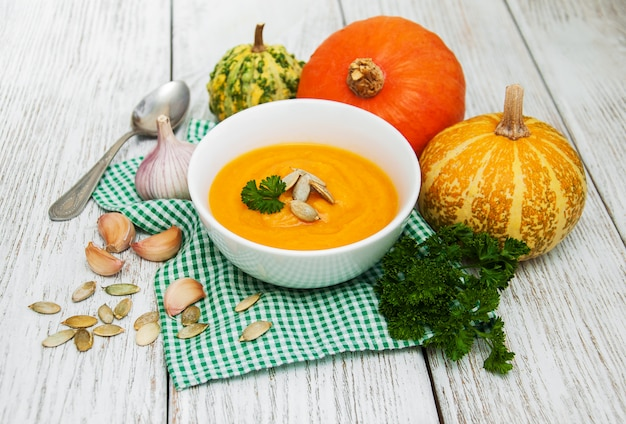 Pumpkin soup with fresh pumpkins