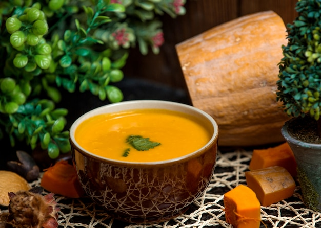 Pumpkin soup with herbs