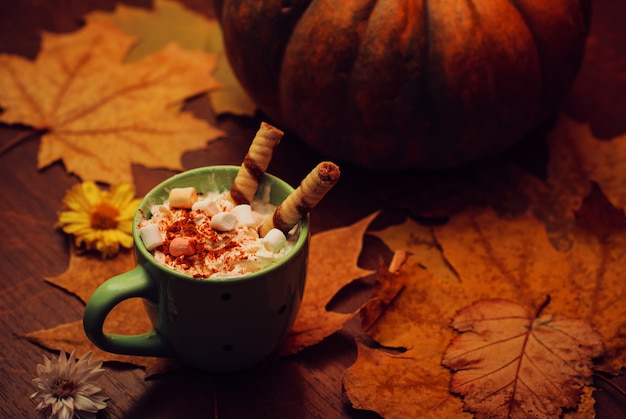 Pumpkin spice latte with milk, cream and marshmallow