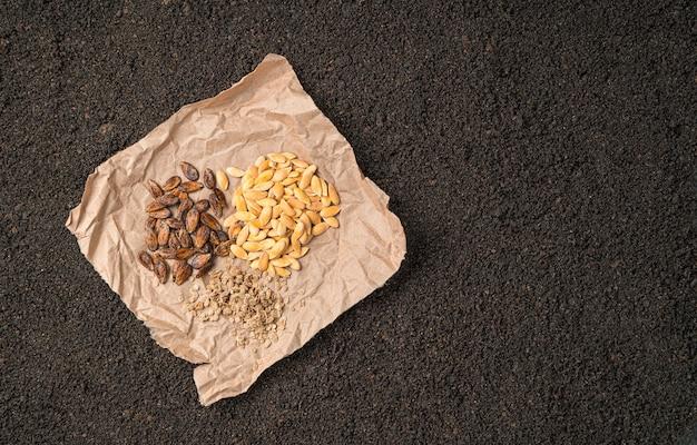 Семена тыквы, арбуза и томата на крафт-бумаге на почве. вид сверху с копией пространства.