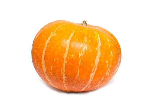 Pumpkin on white background fresh and ripe