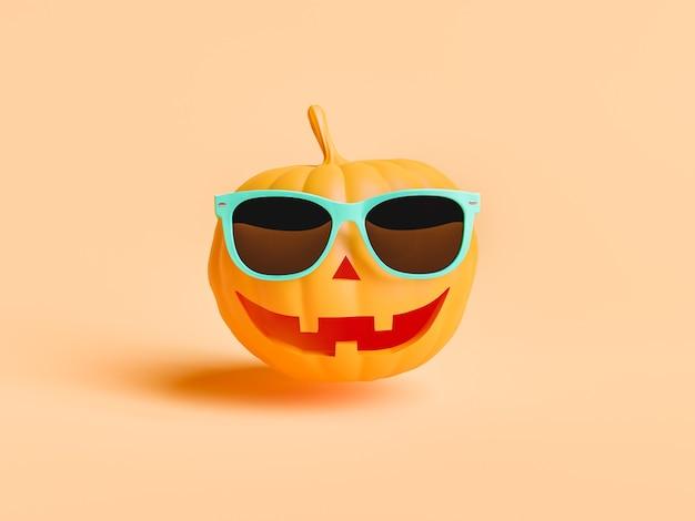 Тыква с счастливым лицом и солнцезащитными очками. минимальная концепция хэллоуина. 3d рендеринг