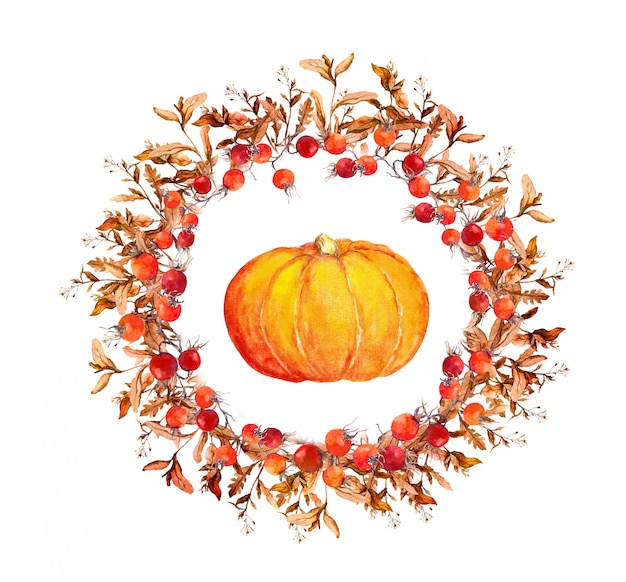 Pumpkin with berry wreath
