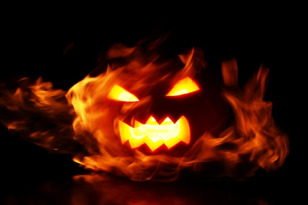 Pumpkin within flames