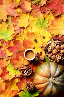 Pumpkin, wooden bowl of nuts, coffee cup, cone, cinnamon