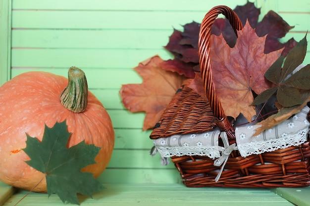 Pumpkin wooden table autumn