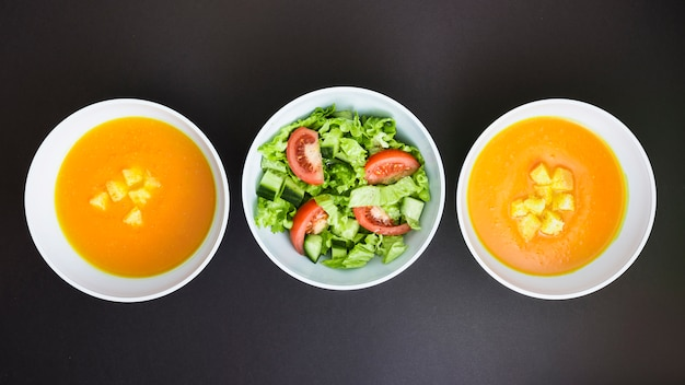Pumpking soup and salad