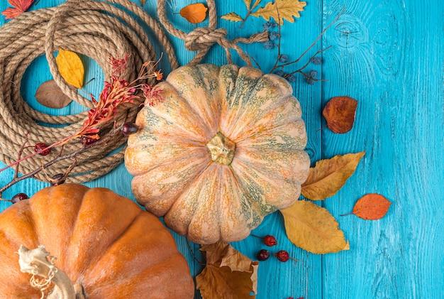 Осенняя листва тыквы и ягоды на синем фоне вид сверху копией пространства