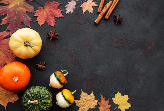 Pumpkins on a black background