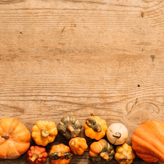 Pumpkins composition on wooden background