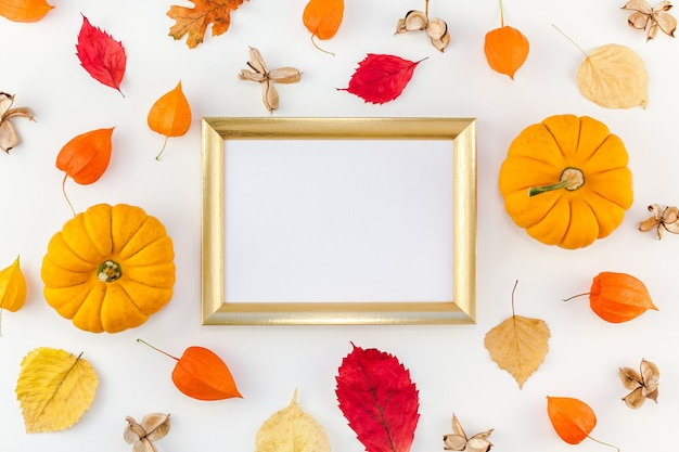 Pumpkins, dried flowers and leaves with golden frame