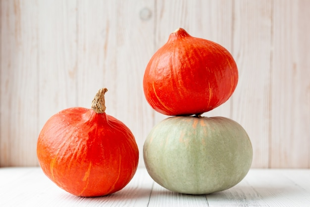 Pumpkins in front of wooden wall rustic style copy space