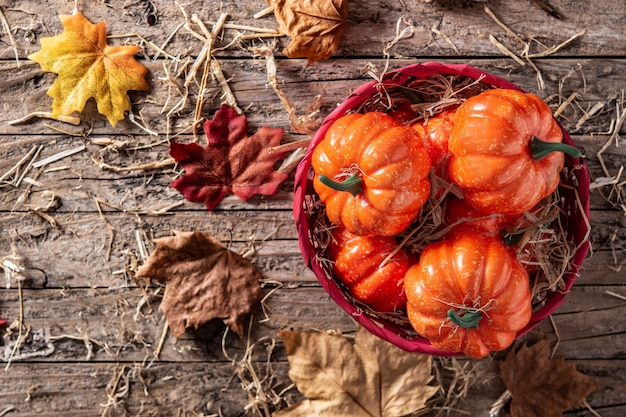 Тыквы в красной корзине на деревенском деревянном столе с листьями