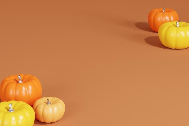 Тыквы на коричневом минимальном фоне для рекламы на осенних праздниках или распродажах, копией пространства, 3d визуализации