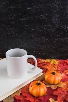 Pumpkins on leaves near book and mug