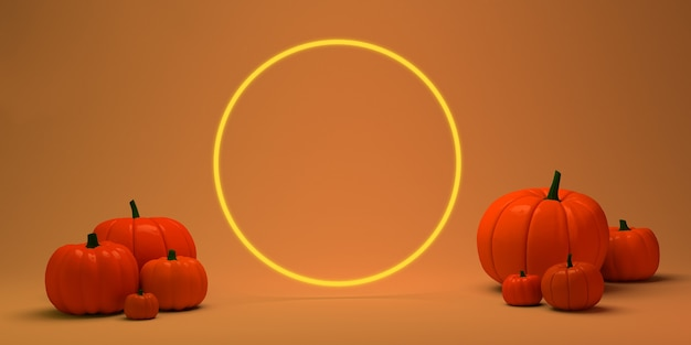 Pumpkins on orange background with circular frame for text  3d illustration copy space