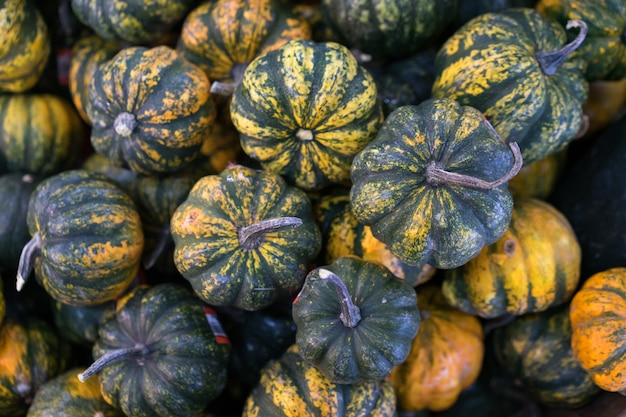 Pumpkins ready for sale in the market.