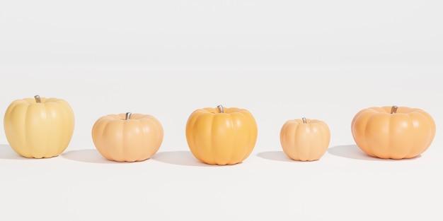 Тыквы на белом фоне для рекламы на осенних праздниках или распродажах, 3d визуализация баннеров