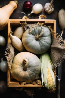Pumpkins and squashes on wooden basket with burlap fabric
