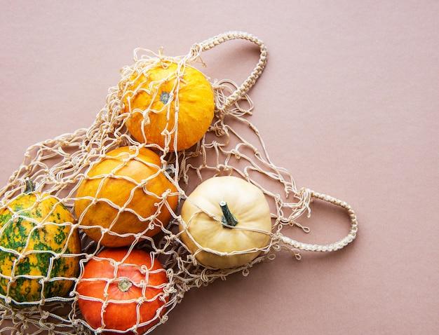 Pumpkins in a string bag