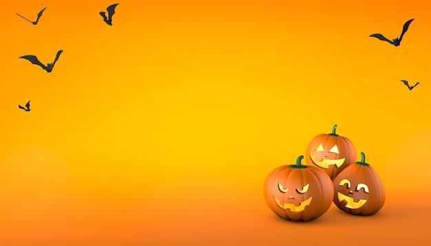 웃고 쾌활한 얼굴과 오렌지 배경 할로윈에 사악한 얼굴을 가진 호박