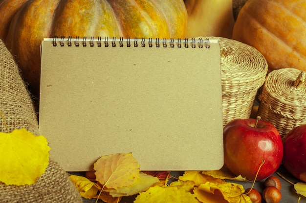 Pumpkins on wooden surface board