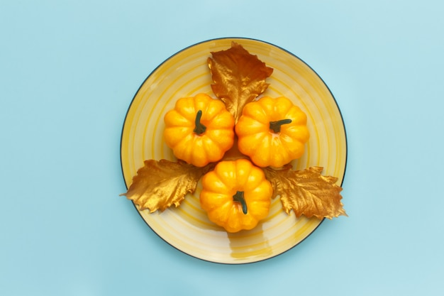Pumpkins on a yellow dish on pastel turquoise.