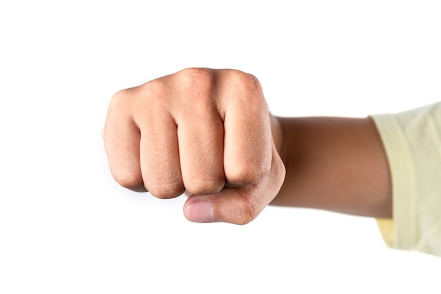 Punch fist on white background, strong