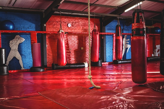 Punching bags and rope in gym