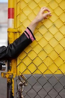 Femmina punk in una posizione urbana
