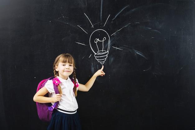 Pupil girl at chalk bulb