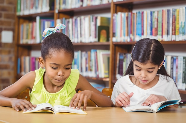 Pupils reading books in the library