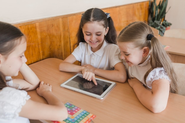 Pupils using tablet at classroom
